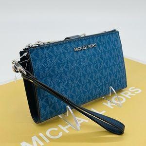 Michael Kors Large Double Zip Wallet Wristlet Dark Chambray